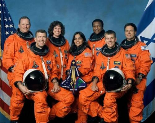 This undated NASA handout image obtained on August 26, 2003 shows the crew of the US space shuttle Columbia