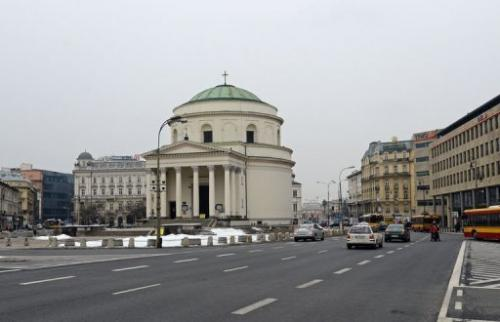 Three Crosses Square in Warsaw is pictured on March 22, 2013
