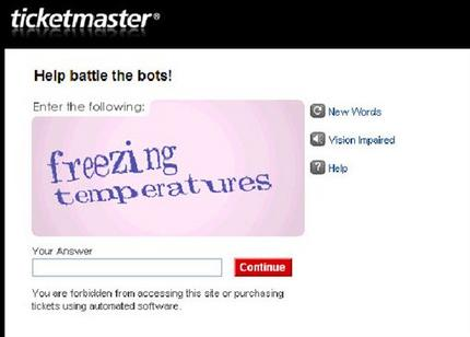 Ticketmaster makes online 'CAPTCHA' puzzles easie