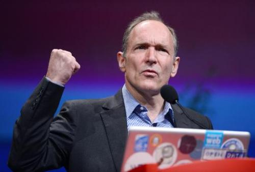Tim Berners-Lee gives a speech on April 18, 2012 at the World Wide Web international conference in Lyon, central France