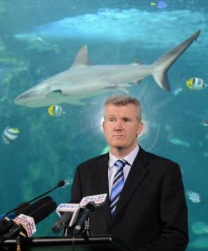 Tony Burke, Australian Environment Minister, speaks to the media at the Sea Life Sydney Aquarium on November 16, 2012