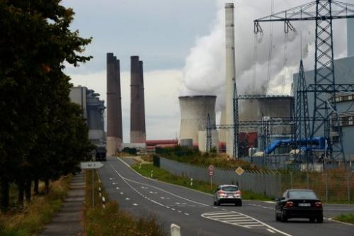 Traffic passes in front of the new Neurath lignit coal-fired RWE power station on September 11, 2012 at Grevenbroich