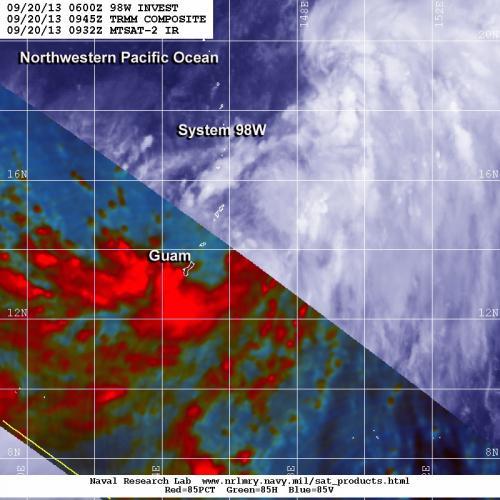 TRMM satellite sees system 98W organizing near Guam, Marianas