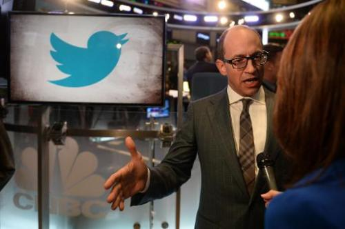 Twitter CEO Richard 'Dick' Costolo gives an interview on the trading floor of the New York Stock Exchange on November 7, 2013 in