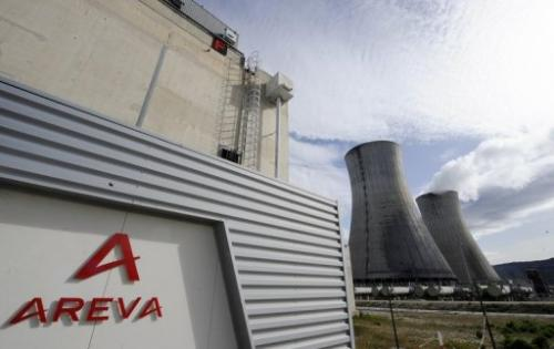Two giant towers emit steam at the Areva plant in Tricastin, France, on April 4, 2011