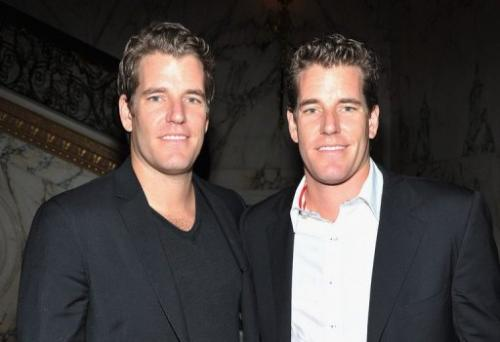 Tyler and Cameron Winklevoss are pictured during an event in New York, on October 3, 2012