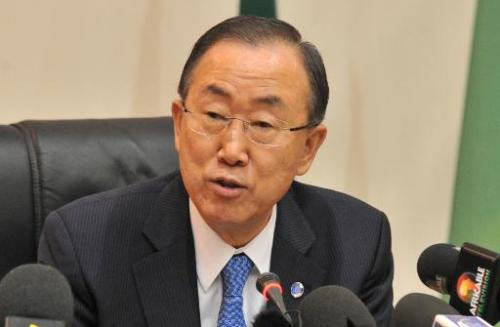UN chief Ban Ki-moon gives a speech in Bamako on November 5, 2013