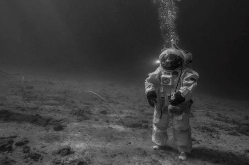 Underwater astronaut on the Moon