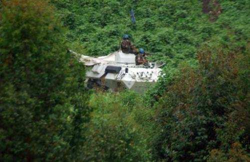 UN peacekeepers patrol near Sake, in the Masisi territory of Kivu-Nord province on May 5, 2012