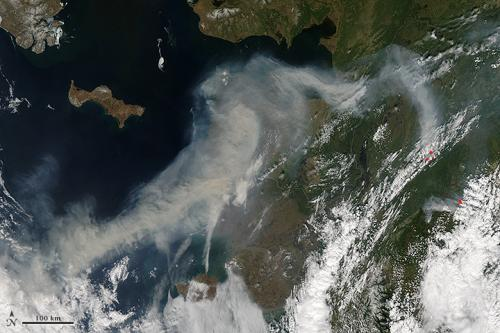 Wilfire smoke over Alaska