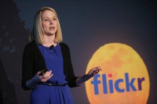 Yahoo CEO Marissa Mayer talks about the company's flickr redesign at a press conference in New York City on May 20, 2013