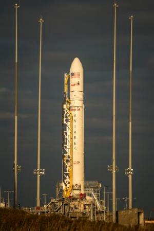 An Orbital Sciences Corporation Antares rocket on the  launchpad at NASA's Wallops Flight Facility on January 6, 2014