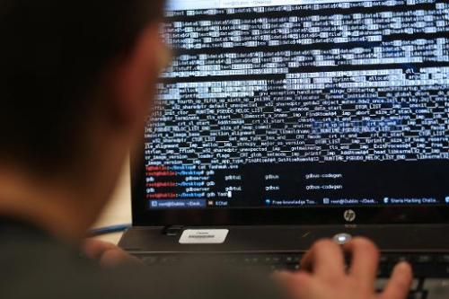 A student from an engineering school attends a hacking challenge on March 16, 2013