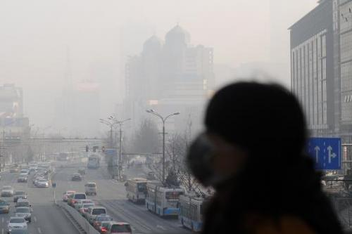 A woman wearing a face mask walks on an overpass in Beijing on January 16, 2014