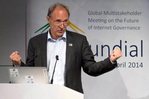 "British computer scientist Tim Berners-Lee delivers a speech during the opening ceremony of the ""NETmundial – Global Multis"