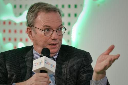 Executive Chairman of Google Eric Schmidt speaks in Hong Kong on November 4, 2013
