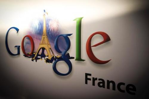 Google's logo at the Google cultural hub in Paris on December 10, 2013