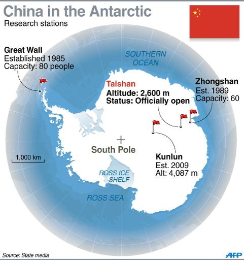Graphic showing China's Antarctic research bases