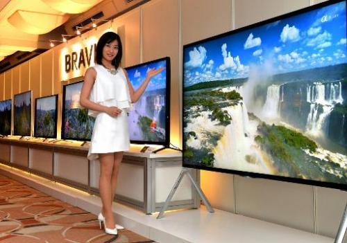 Japanese electronics giant Sony's 4K 85-inch sized Bravia X9500B television and new line-up of 4K television sets, pictured in T