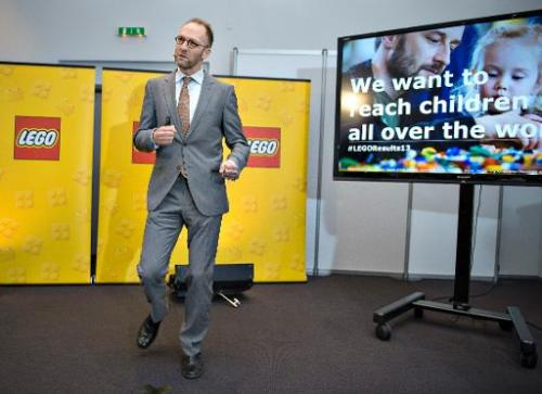 Joergen Vig Knudstorp, CEO of LEGO, speaks at a press conference on February 27, 2014 in London