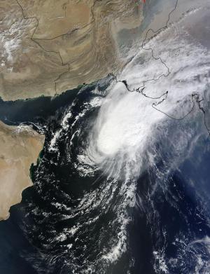 NASA sees Cyclone Nilofar looking more like a comet than a tropical cyclone