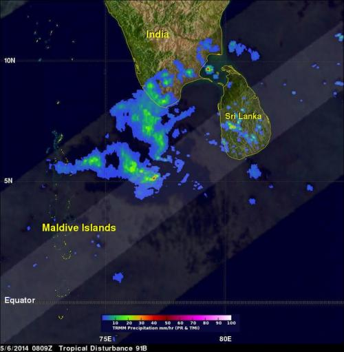 NASA sees system 91B making landfall in southwestern India