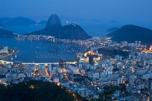Night view of the bright lights of Botafogo area on October 30, 2012