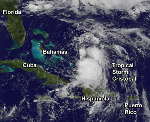 Satellites capture the birth and movement of Tropical Storm Cristobal