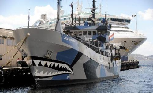 Sea Shepherd ship 'Bob Barker' is moored in Hobart on December 13, 2011
