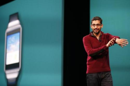 Sundar Pichai, senior vice president of Android, Chrome & Apps, speaks on stage during the Google I/O Developers Conference