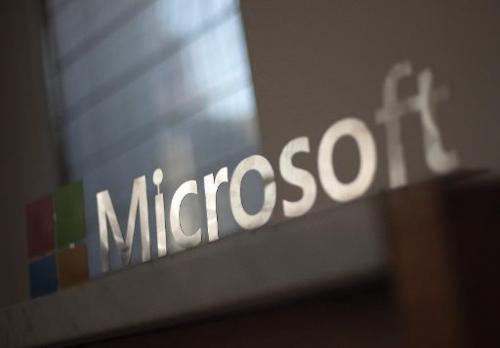 The Microsoft logo is seen before the start of a media event in San Francisco, California on Thursday, March 27, 2014
