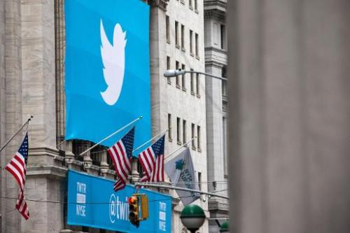 The Twitter logo is displayed on a banner outside the New York Stock Exchange (NYSE) on November 7, 2013