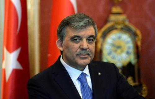 Turkey's President Abdullah Gul gives a statement during a state visit to the Hungarian presidental palace in Budapest, on Febru