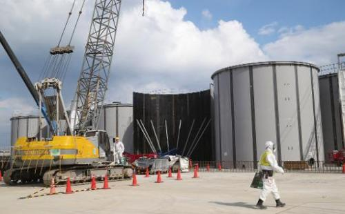 Welded tanks are seen being built above ground at the Fukushima nuclear plant in Okuma, Fukushima Prefecture, on March 10, 2014