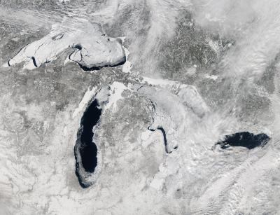 NASA satellite sees great freeze over Great Lakes