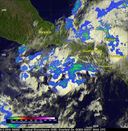 NASA's TRMM satellite sees Eastern Pacific tropical cyclone forming