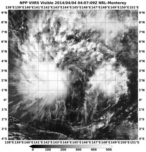 NASA sees Tropical Depression 05W's bulk west of center