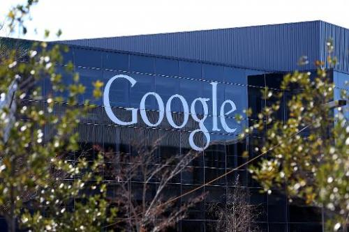 A sign is posted on the exterior of Google headquarters on January 30, 2014 in Mountain View, California