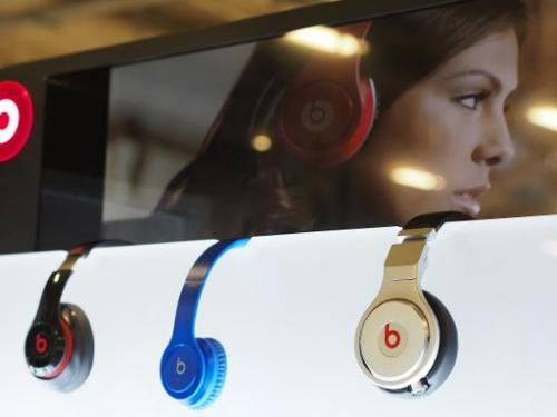 Beats headphones made by Beats Electronics are seen on display in Los Angeles, CA on May 9, 2014