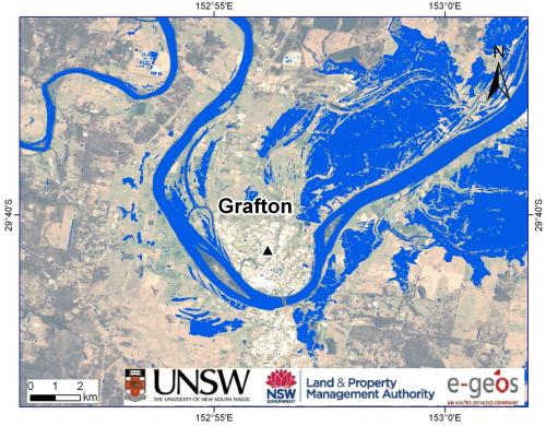 Satellite radar monitoring of nsw floods near grafton in 2011