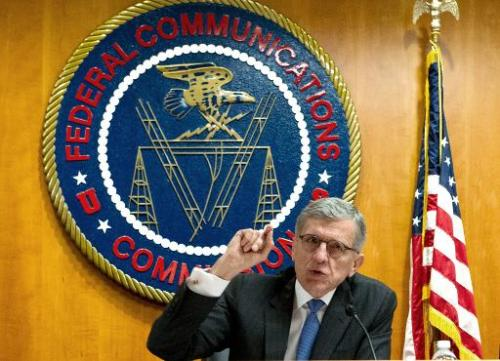 Federal Communications Commission (FCC) Chairman Tom Wheeler speaks before calling for a vote during a meeting of the commission