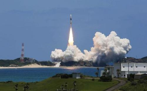Japan's H-IIA rocket lifts off from the space centre on the southern island of Tanegashima on May 24, 2014
