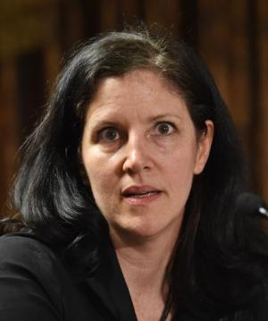 Laura Poitras speaks after accepting Long Island University's George Polk Award for National Security Reporting April 11, 2014 i