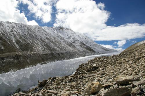 Meltwater from Tibetan glaciers floods pastures
