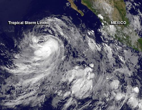 NASA sees Depression 12-E become Tropical Storm Lowell