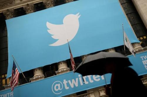 The Twitter logo on the front of the New York Stock Exchange on November 7, 2013