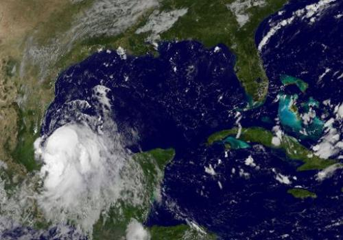 This September 2, 2014 NASA GOES satellite image shows Tropical Storm Dolly in the Gulf of Mexico