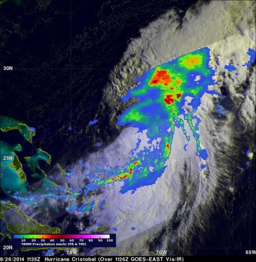 NASA's TRMM Satellite sees powerful towering storms in Cristobal