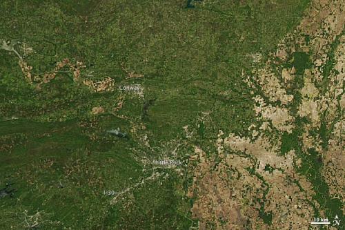 NASA satellite spots tornado track near Conway, Ark.