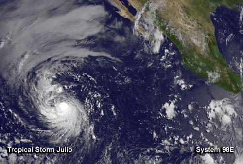 NASA sees Tropical Storm Julio as part of a heated Eastern Pacific